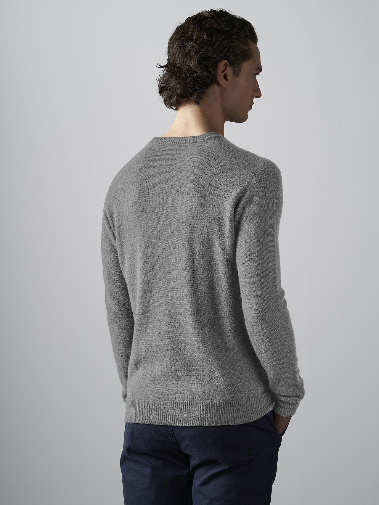 FLACK V2.Y4.02 Nahtloser 3D Knit Merino-Kaschmir Pullover Grau / Melange Haupt Vorne Alpha Tauri
