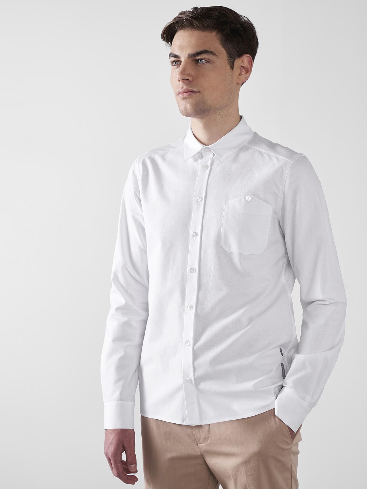 WOSKA V2.Y5.01 Kent Collar Oxford Shirt white Front Alpha Tauri