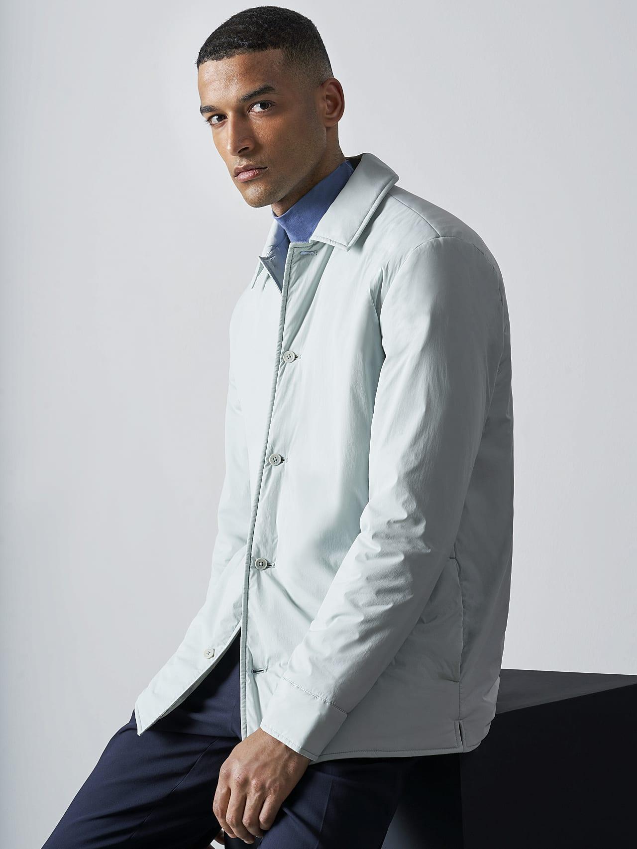 OVASU V1.Y5.02 PrimaLoft® Overshirt Jacket Pale Blue  Model shot Alpha Tauri