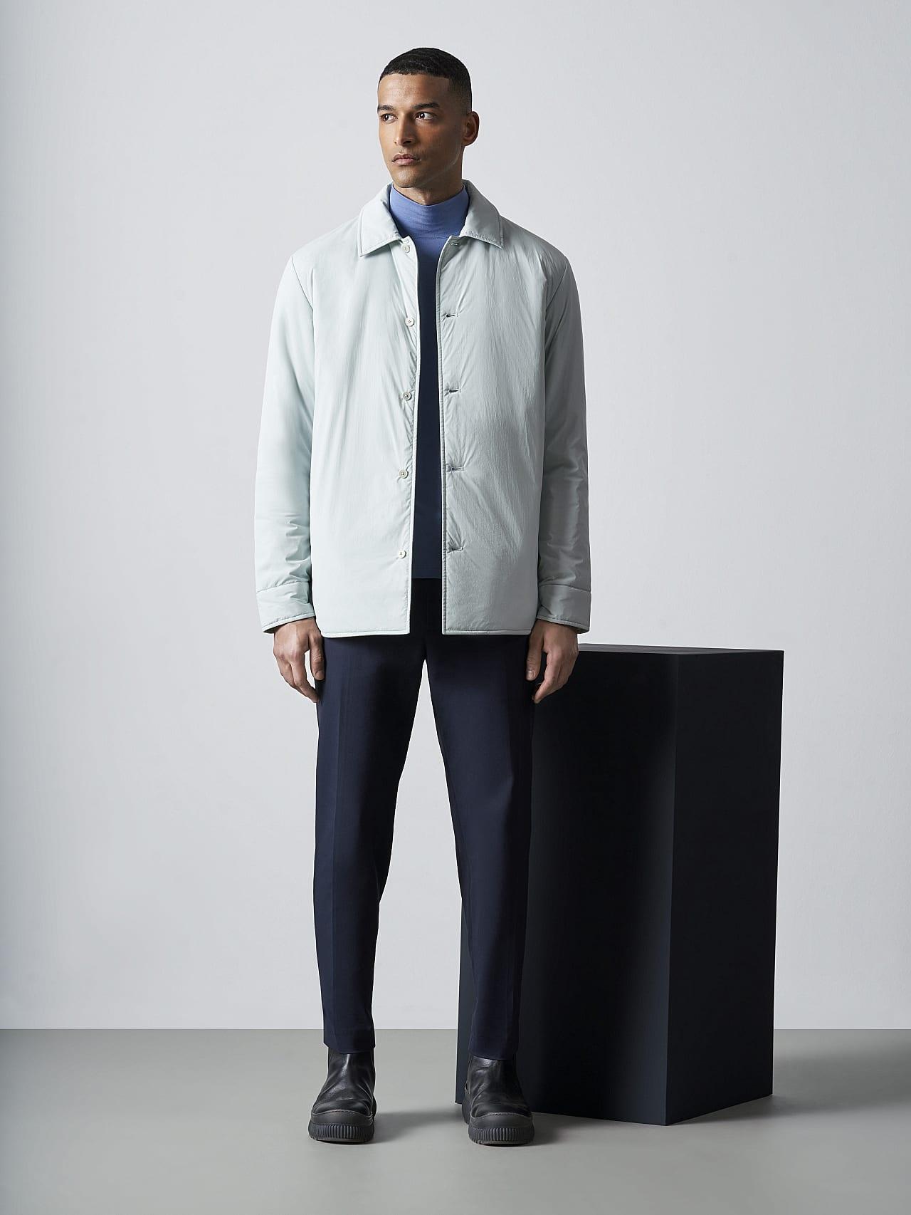 OVASU V1.Y5.02 PrimaLoft® Overshirt Jacket Pale Blue  Front Alpha Tauri