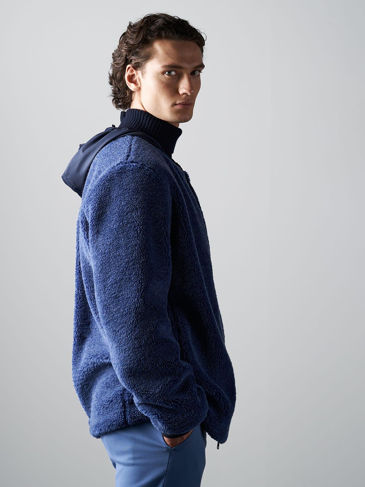 OVEDY V1.Y5.02 Reversible Wool-Blend Teddy Jacket light blue Extra Alpha Tauri