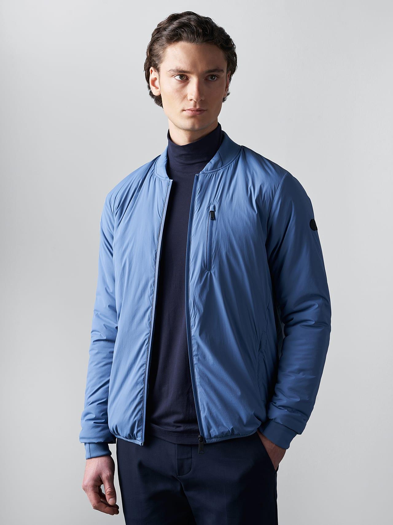 OPRIM V3.Y5.02 Padded PrimaLoft® Jacket light blue Model shot Alpha Tauri