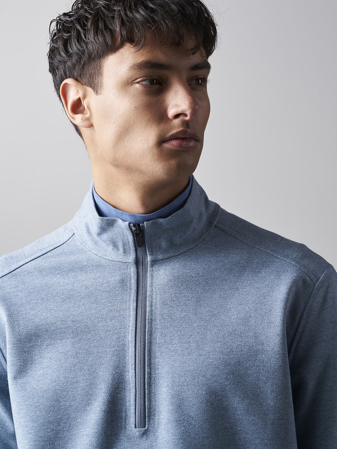 SROTO V1.Y5.02 Waterproof Half-Zip Sweatshirt medium blue Right Alpha Tauri