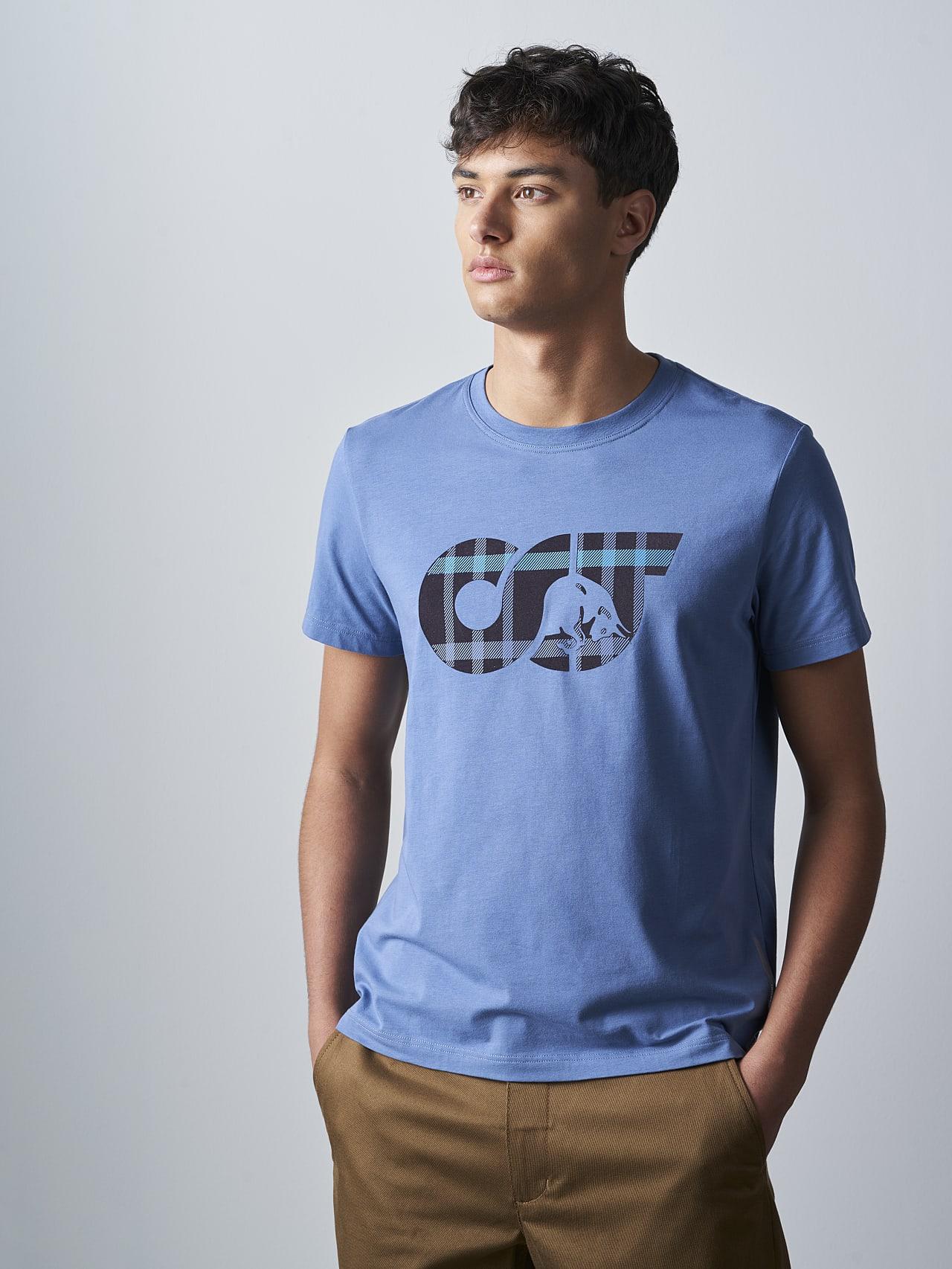 JABIS V1.Y5.02 Logo Print T-Shirt light blue Model shot Alpha Tauri