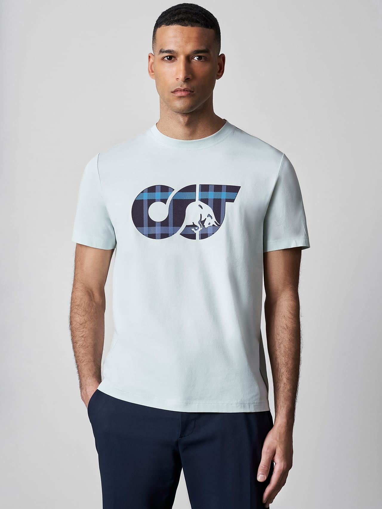 JABIS V1.Y5.02 Logo Print T-Shirt Pale Blue  Model shot Alpha Tauri