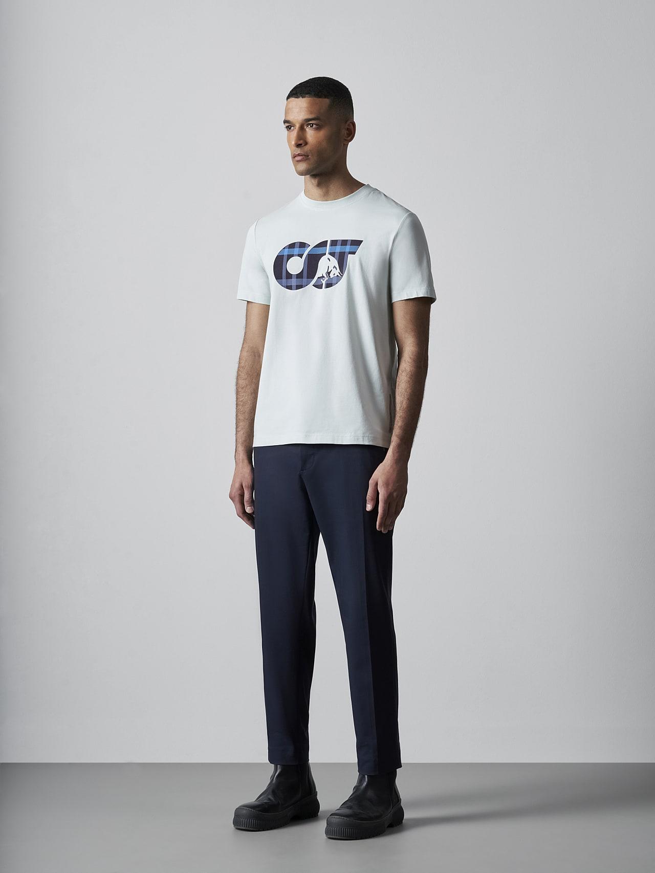 JABIS V1.Y5.02 Logo Print T-Shirt Pale Blue  Front Alpha Tauri