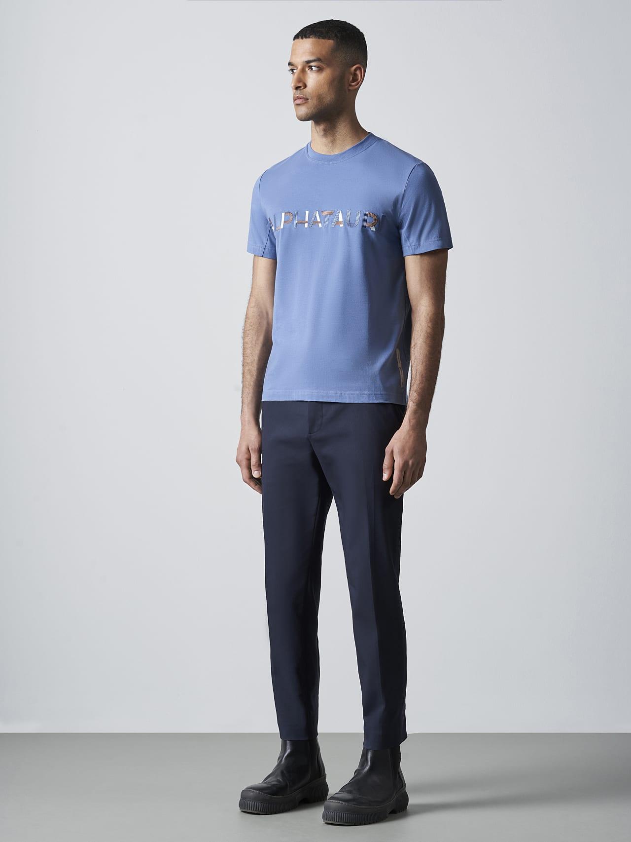 JANOS V3.Y5.02 Logo Embroidery T-Shirt light blue Front Alpha Tauri
