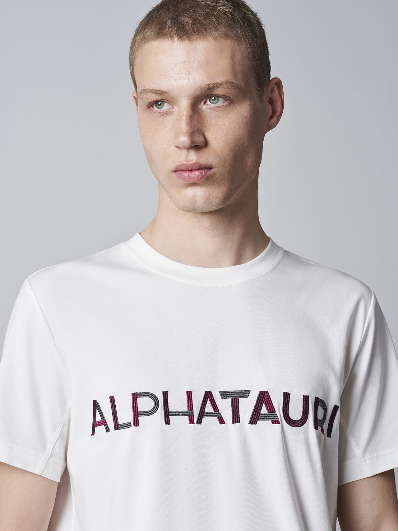 JANOS V3.Y5.02 Logo Embroidery T-Shirt offwhite Model shot Alpha Tauri