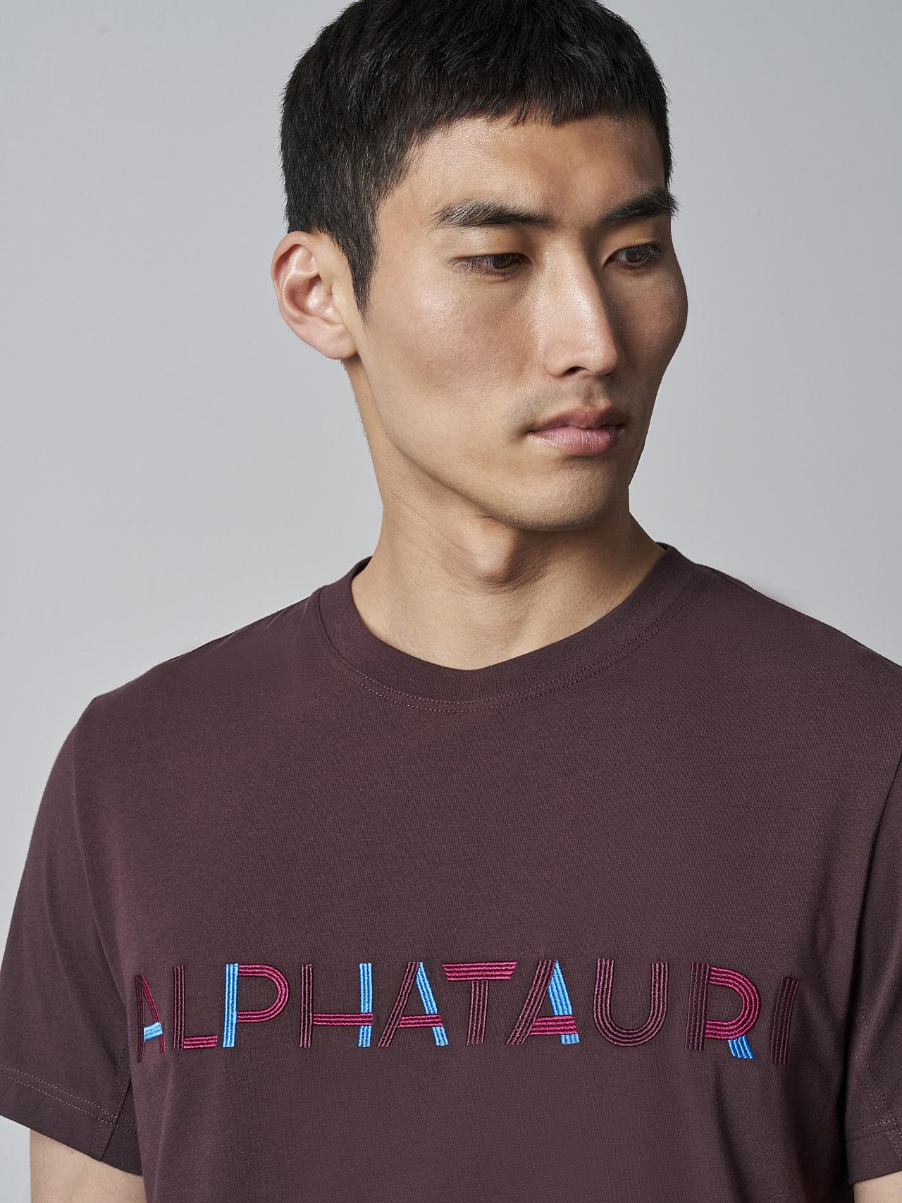 JANOS V3.Y5.02 Logo Embroidery T-Shirt Burgundy Model shot Alpha Tauri