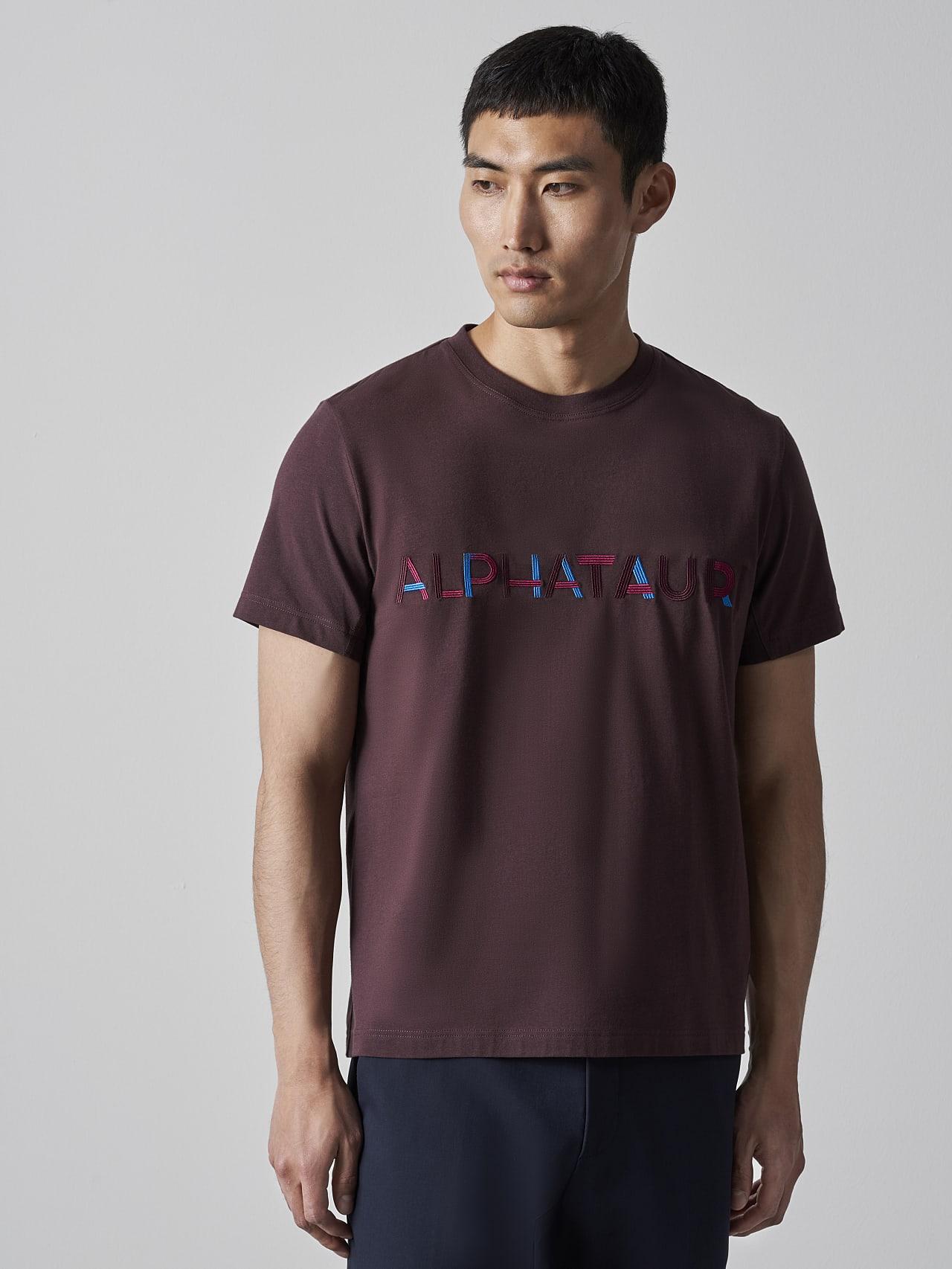 JANOS V3.Y5.02 Logo Embroidery T-Shirt Burgundy Right Alpha Tauri