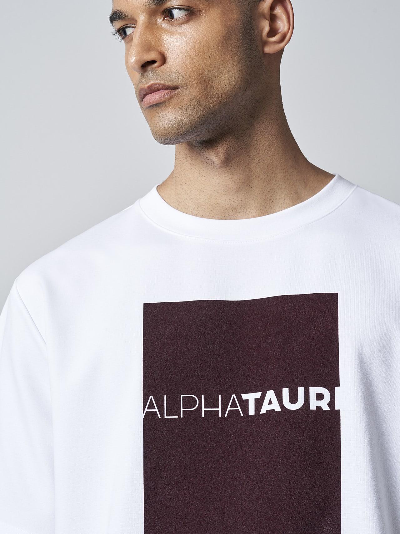 JAHEV V1.Y5.02 Relaxed Logo T-Shirt white Model shot Alpha Tauri
