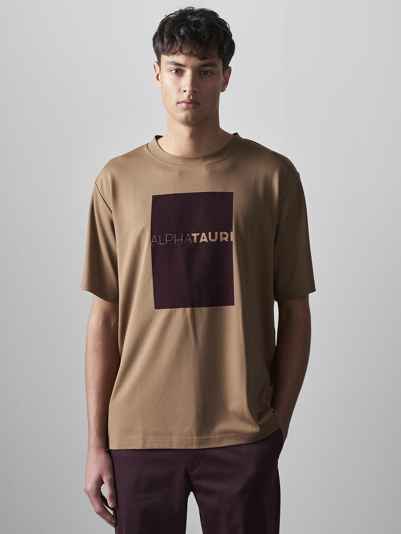 JAHEV V1.Y5.02 Relaxed Logo T-Shirt gold Model shot Alpha Tauri