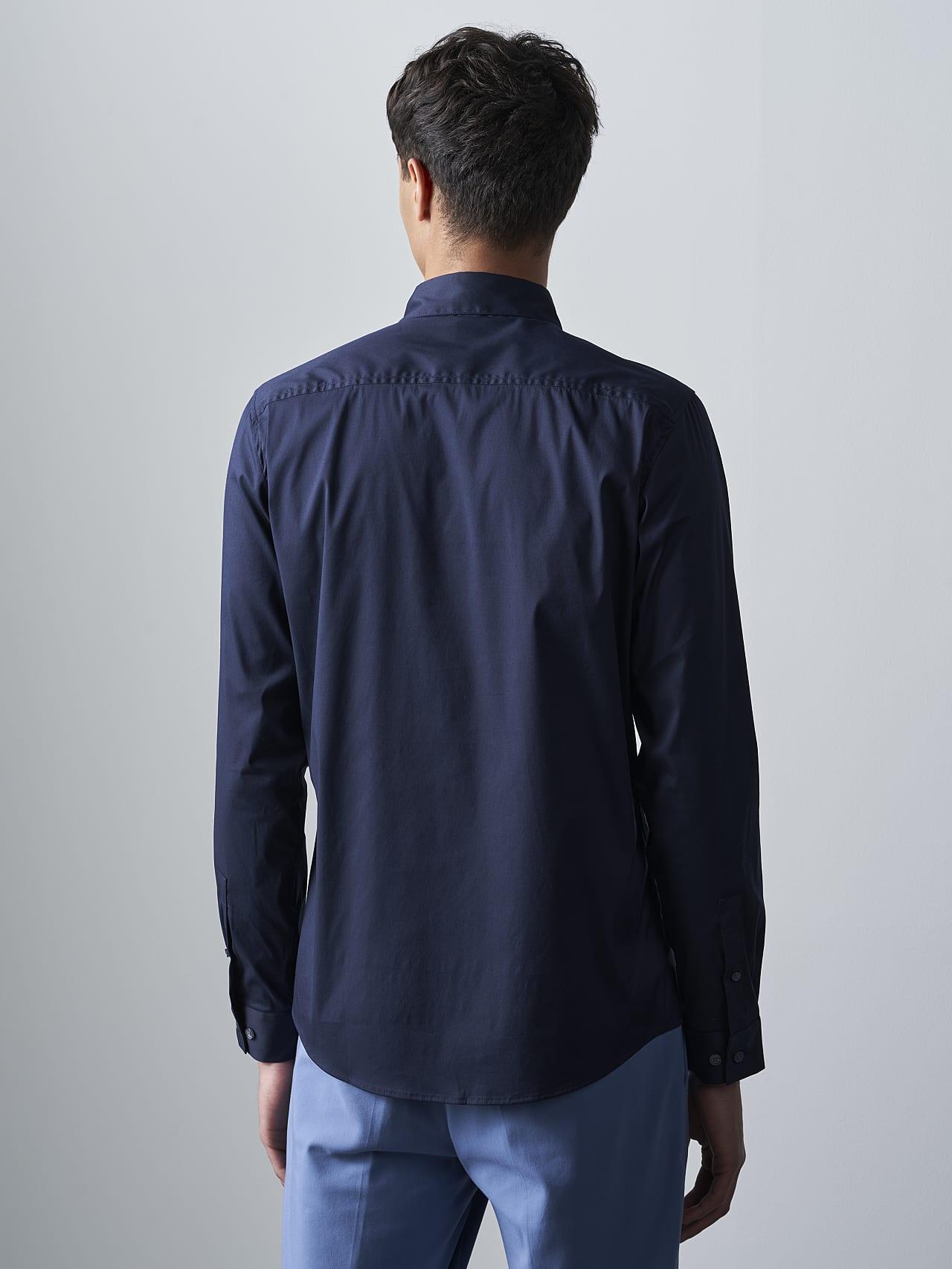WAARG V2.Y5.02 Easy-Care Cotton Shirt navy Front Main Alpha Tauri