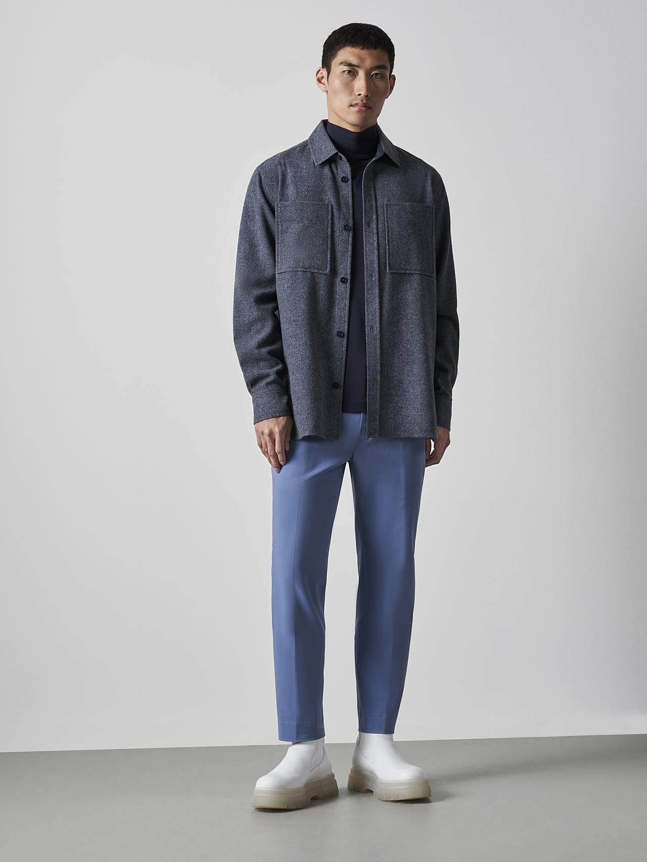 WOVER V1.Y5.02 Wool Over-Shirt navy Front Alpha Tauri