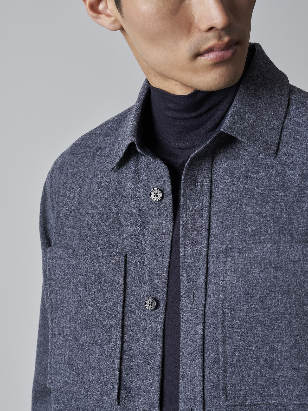 WOVER V1.Y5.02 Wool Over-Shirt navy Right Alpha Tauri