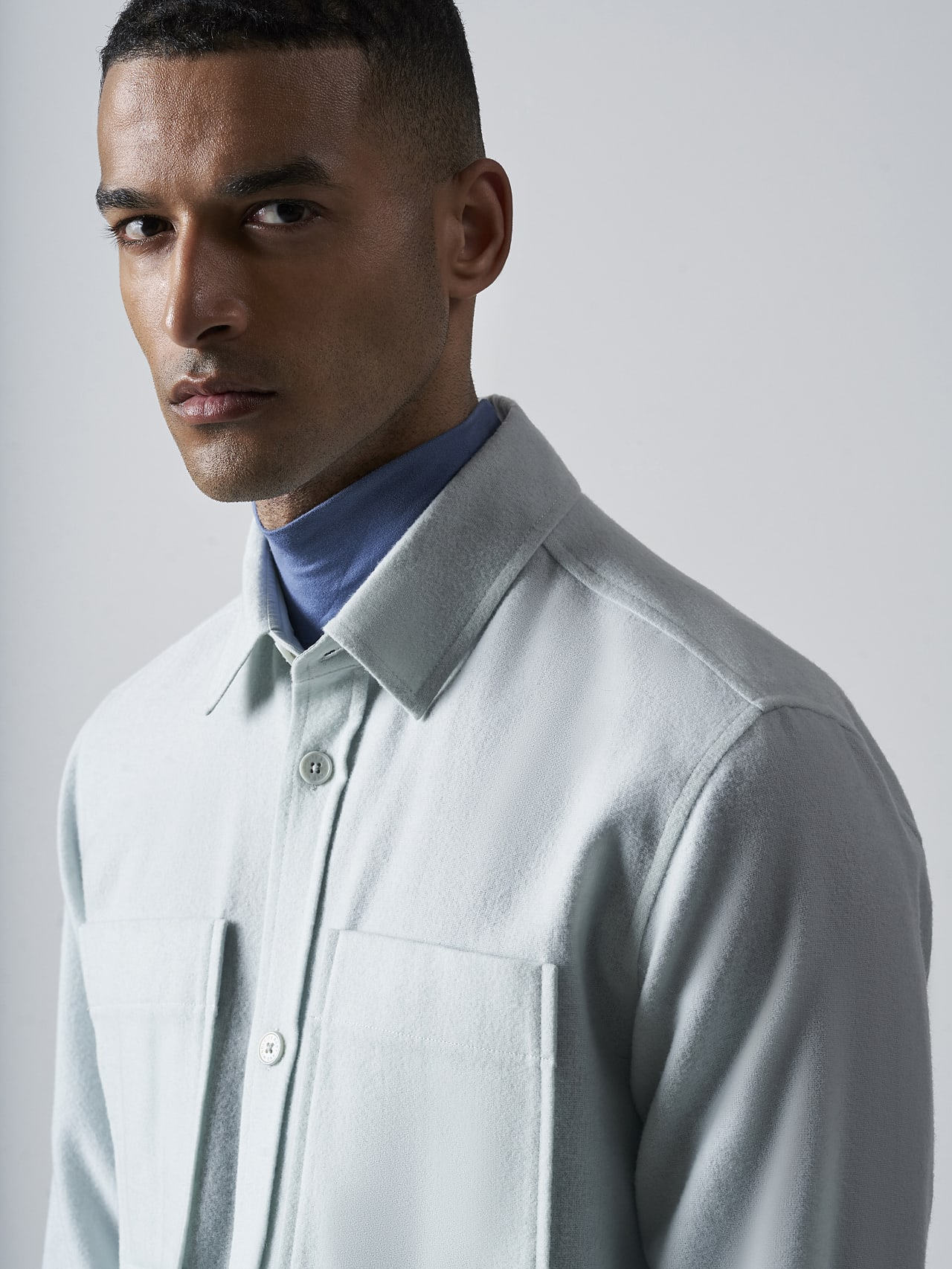 WOVER V1.Y5.02 Wool Over-Shirt Pale Blue  Right Alpha Tauri