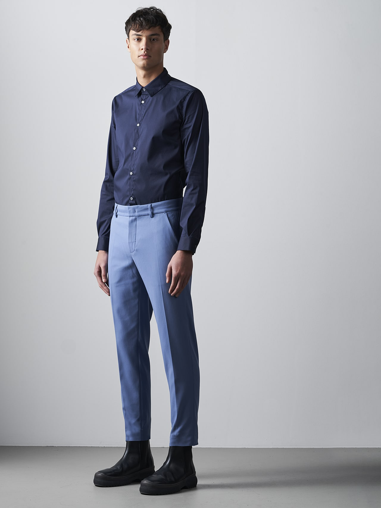 PELAN V1.Y5.02 Tapered Pants with Pleats light blue Front Alpha Tauri
