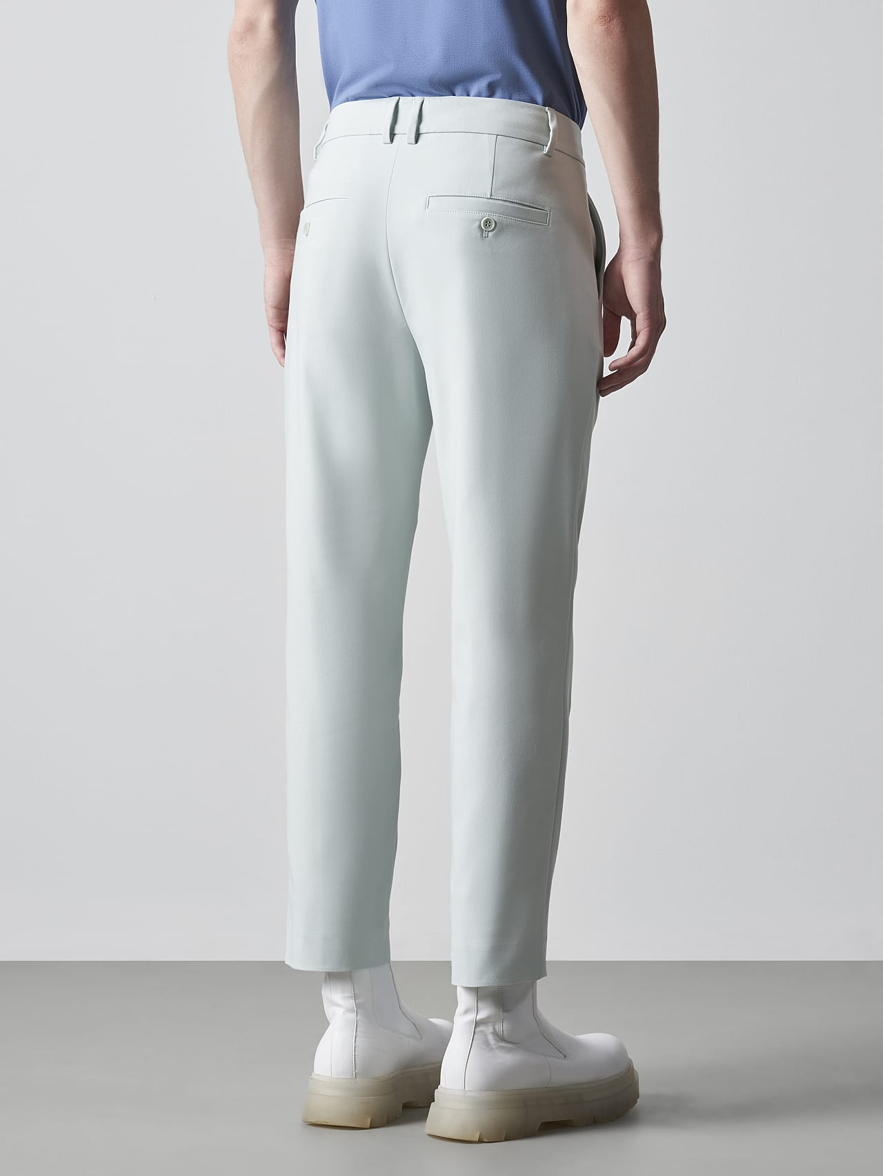 PELAN V1.Y5.02 Tapered Pants with Pleats Pale Blue  Front Main Alpha Tauri