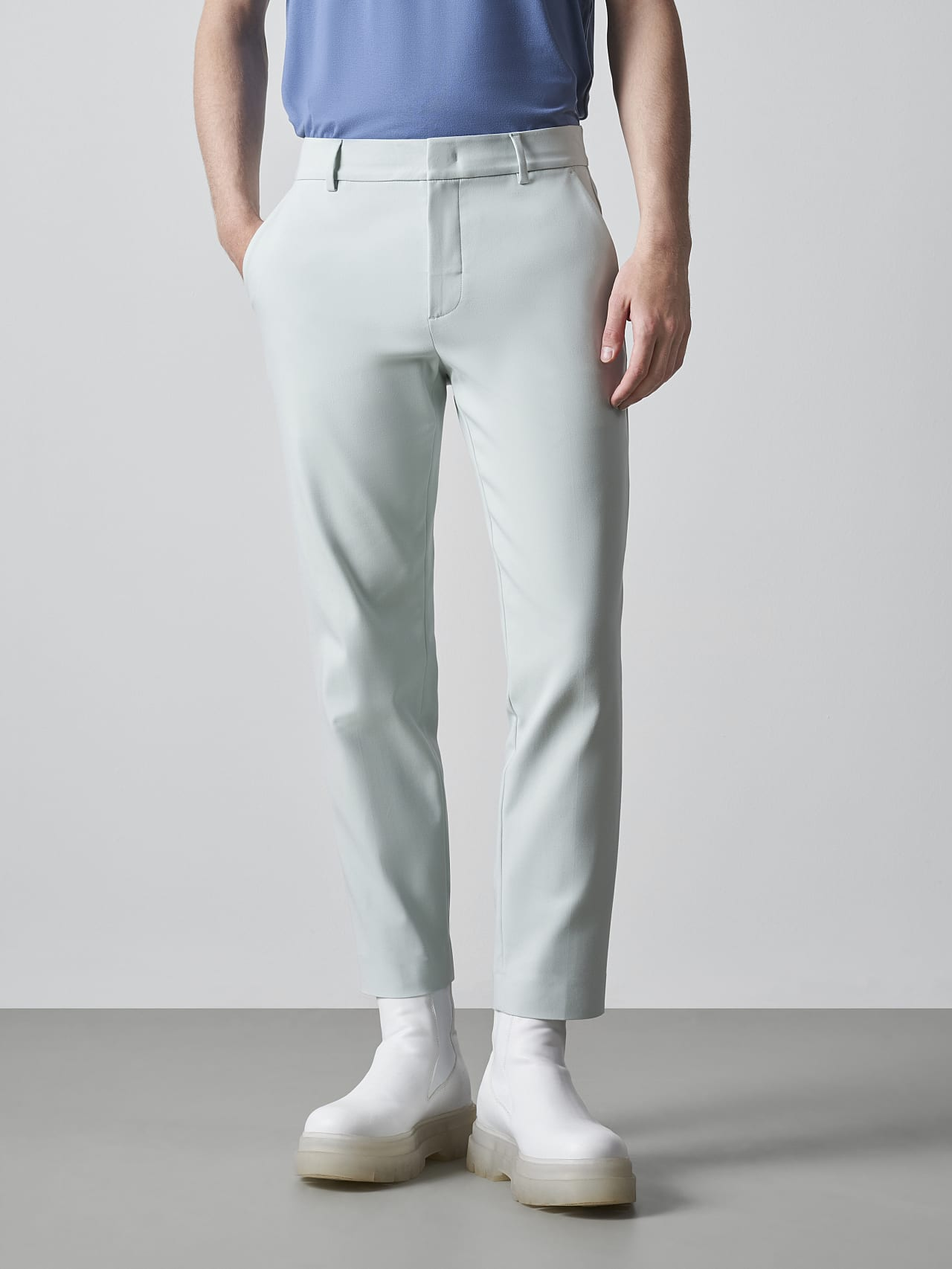 PELAN V1.Y5.02 Tapered Pants with Pleats Pale Blue  Front Alpha Tauri