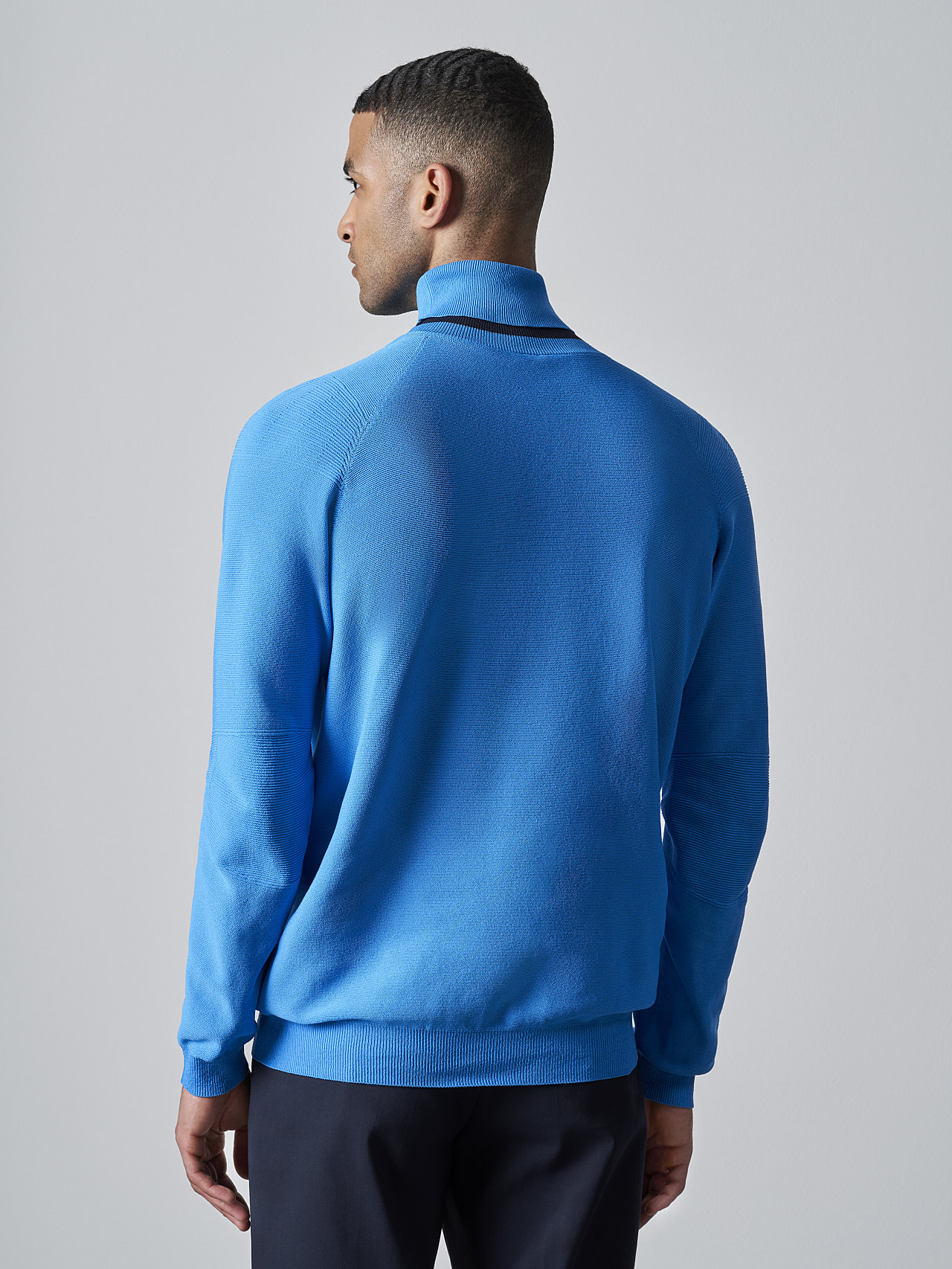 FUZZO V1.Y5.02 Seamless 3D Knit Roll-Neck Jumper blue Front Main Alpha Tauri