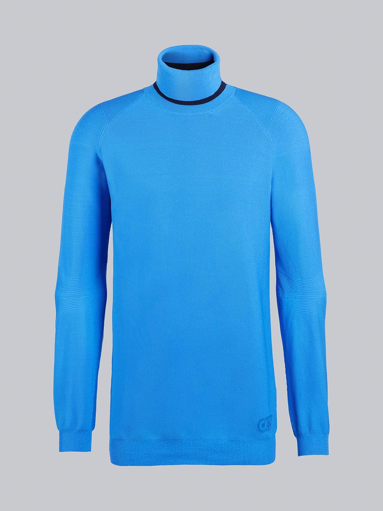 FUZZO V1.Y5.02 Seamless 3D Knit Roll-Neck Jumper blue Back Alpha Tauri