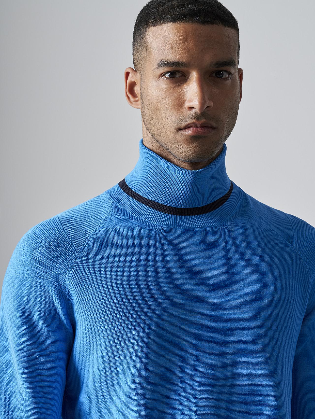 FUZZO V1.Y5.02 Seamless 3D Knit Roll-Neck Jumper blue Right Alpha Tauri