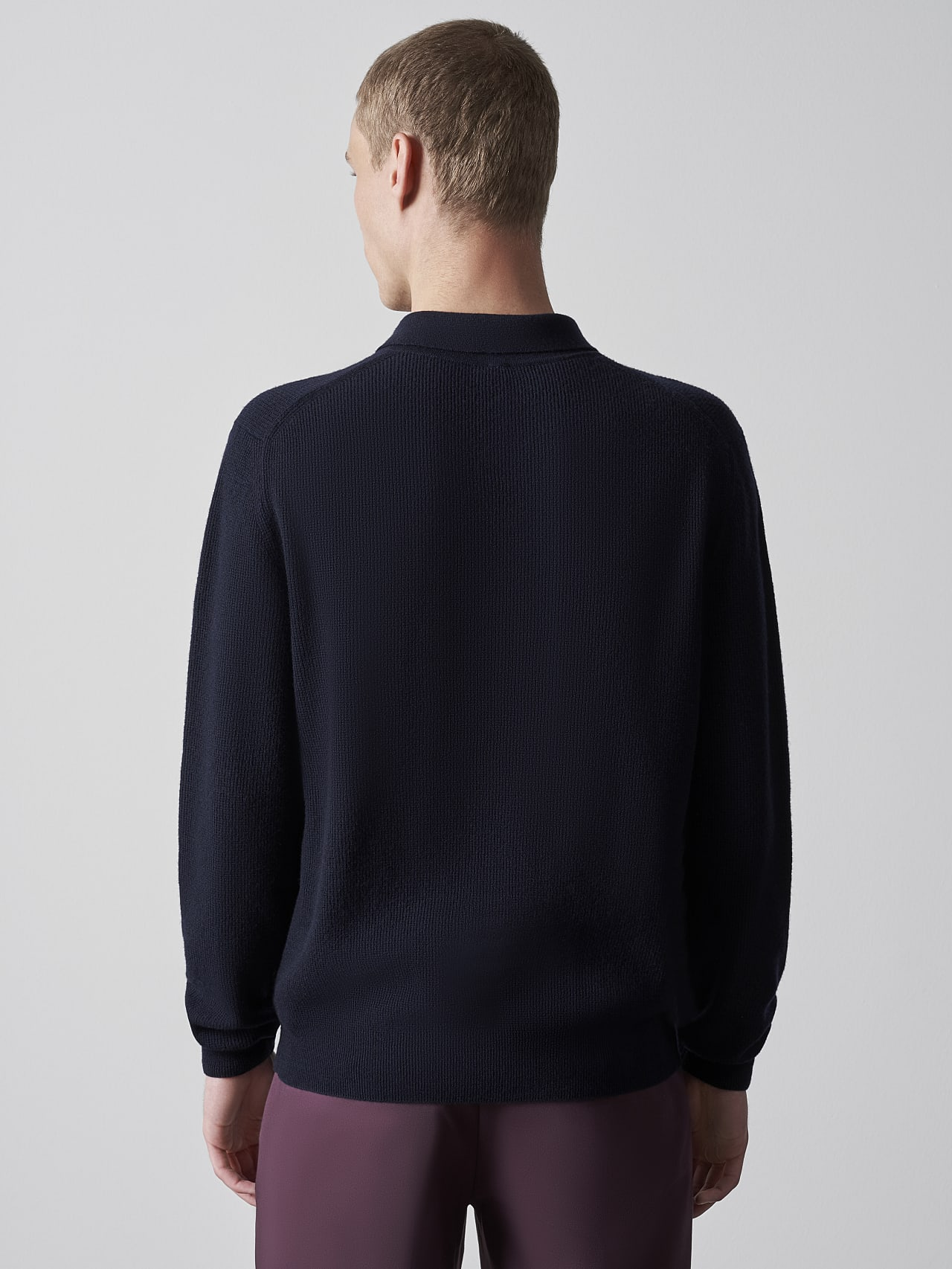 FORCE V1.Y5.02 Cashmere-Blend Knit Polo Longsleeve navy Front Main Alpha Tauri