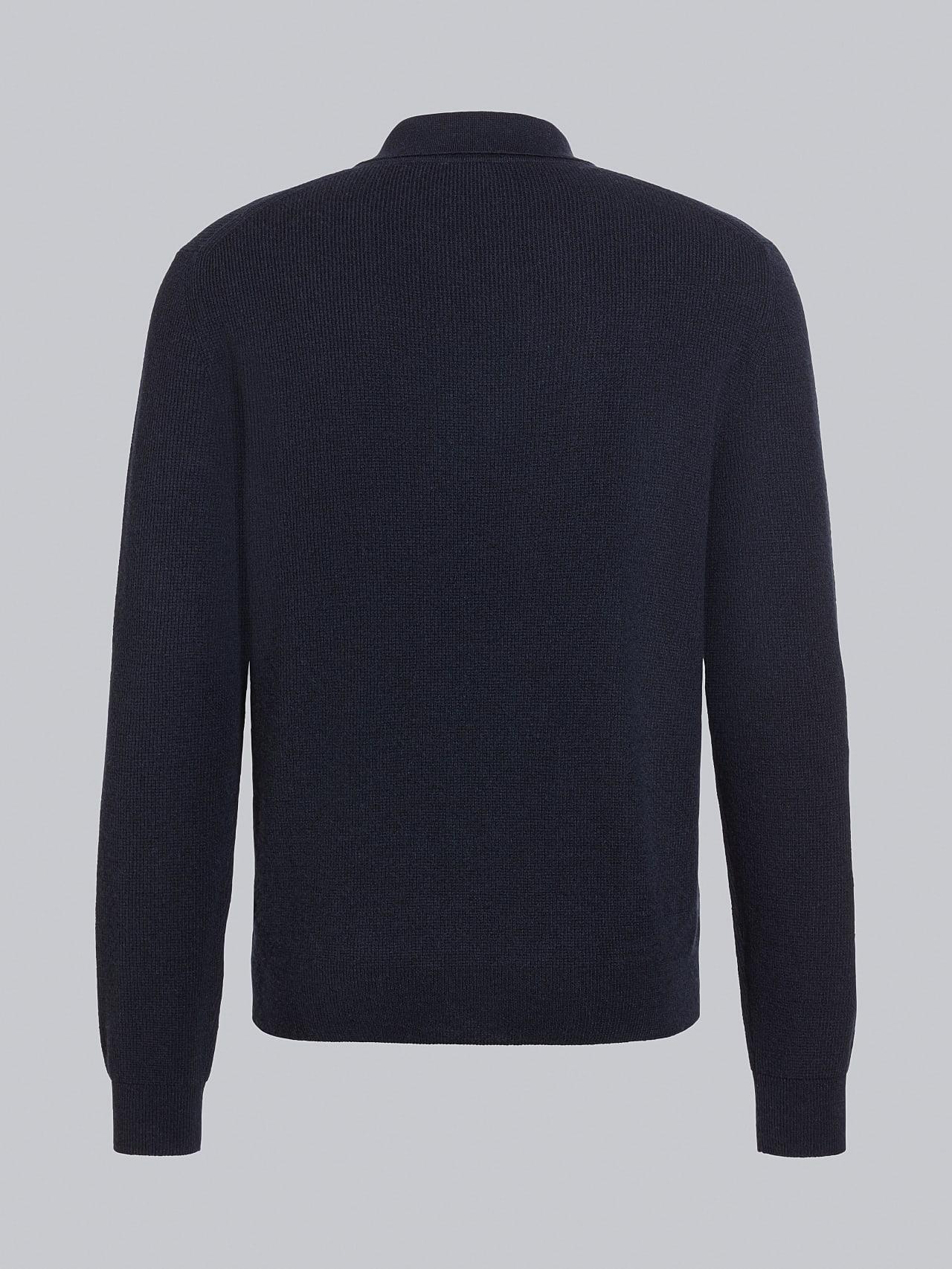 FORCE V1.Y5.02 Cashmere-Blend Knit Polo Longsleeve navy Left Alpha Tauri