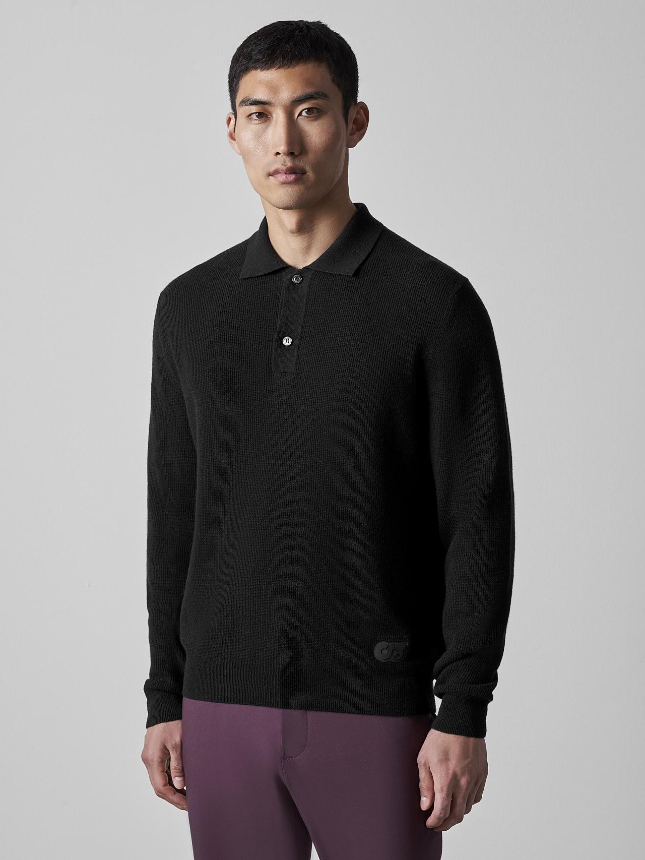 FORCE V1.Y5.02 Cashmere-Blend Knit Polo Longsleeve black Model shot Alpha Tauri