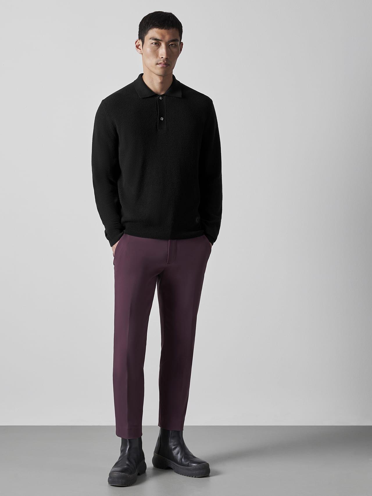 FORCE V1.Y5.02 Cashmere-Blend Knit Polo Longsleeve black Front Alpha Tauri