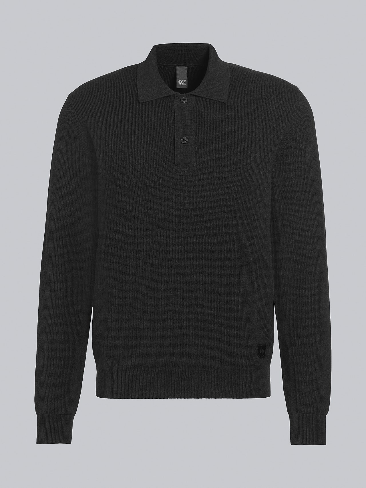 FORCE V1.Y5.02 Cashmere-Blend Knit Polo Longsleeve black Back Alpha Tauri