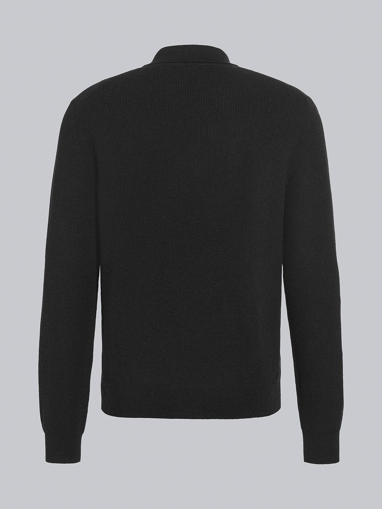 FORCE V1.Y5.02 Cashmere-Blend Knit Polo Longsleeve black Left Alpha Tauri