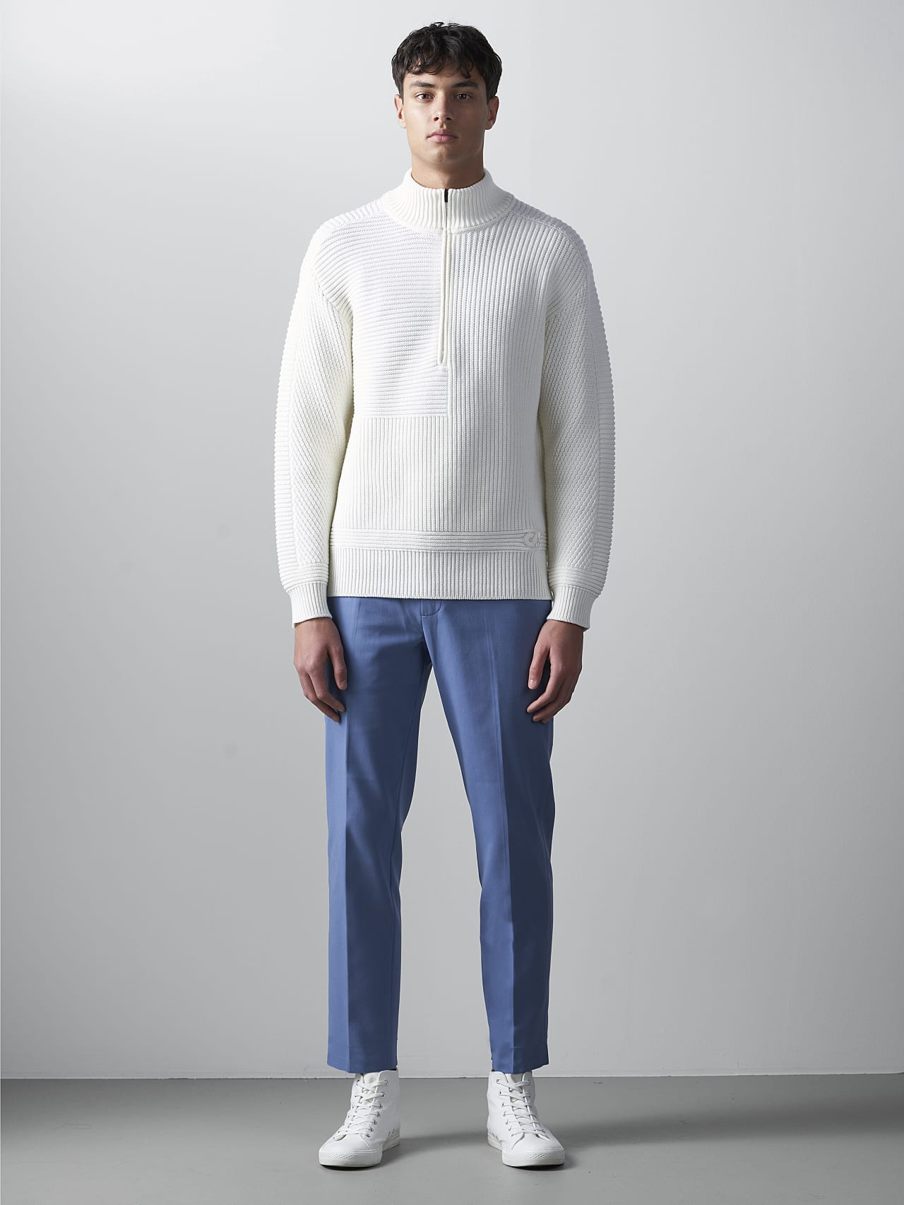 FAAMN V1.Y5.02 Chunky Knit Wool Jumper offwhite Front Alpha Tauri