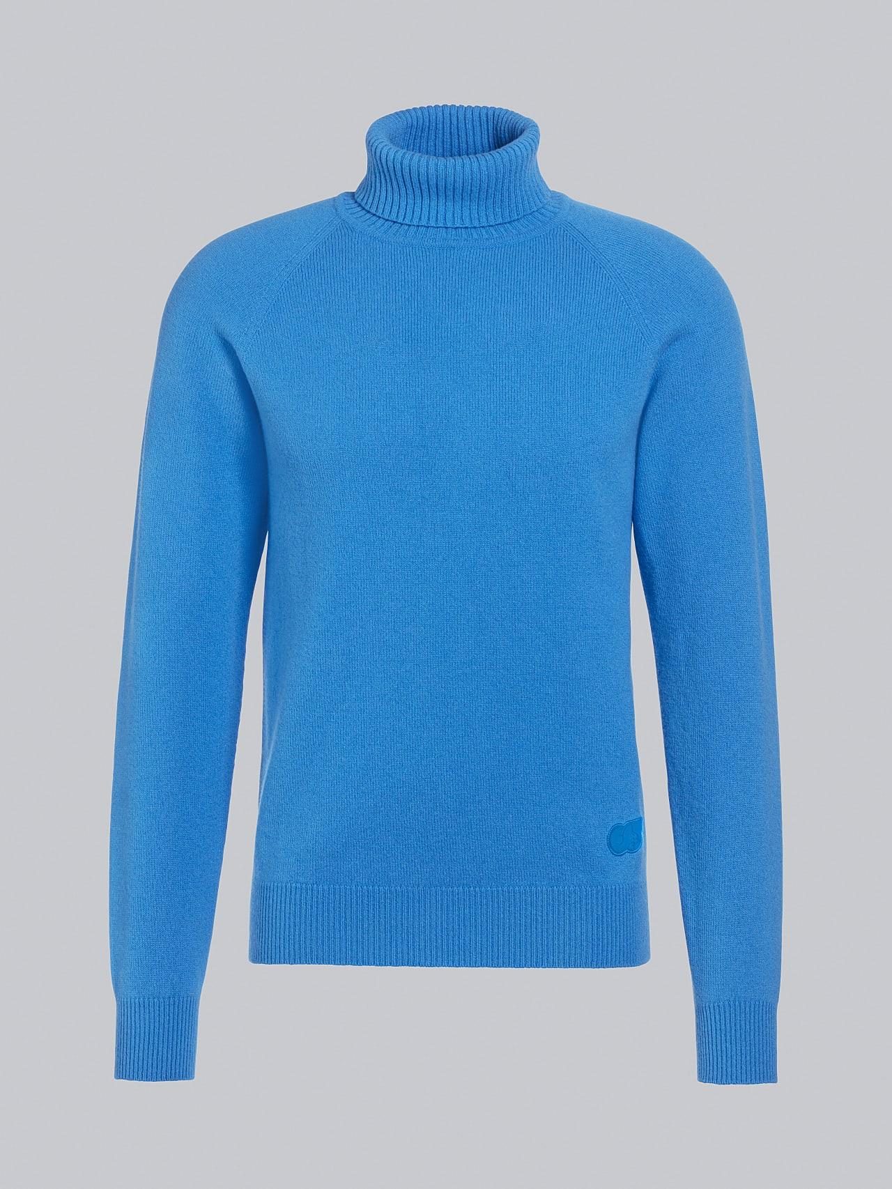 FLUCK V2.Y5.02 Seamless 3D Knit Cashmere-Blend Turtle Neck blue Back Alpha Tauri