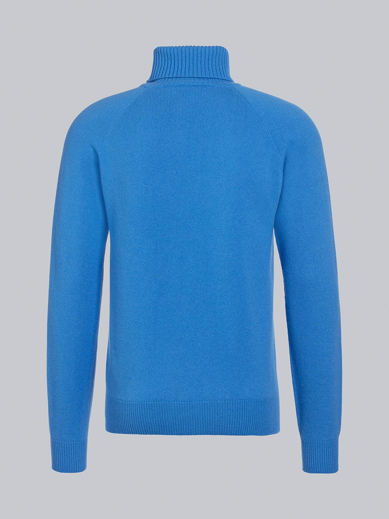 FLUCK V2.Y5.02 Seamless 3D Knit Cashmere-Blend Turtle Neck blue Left Alpha Tauri
