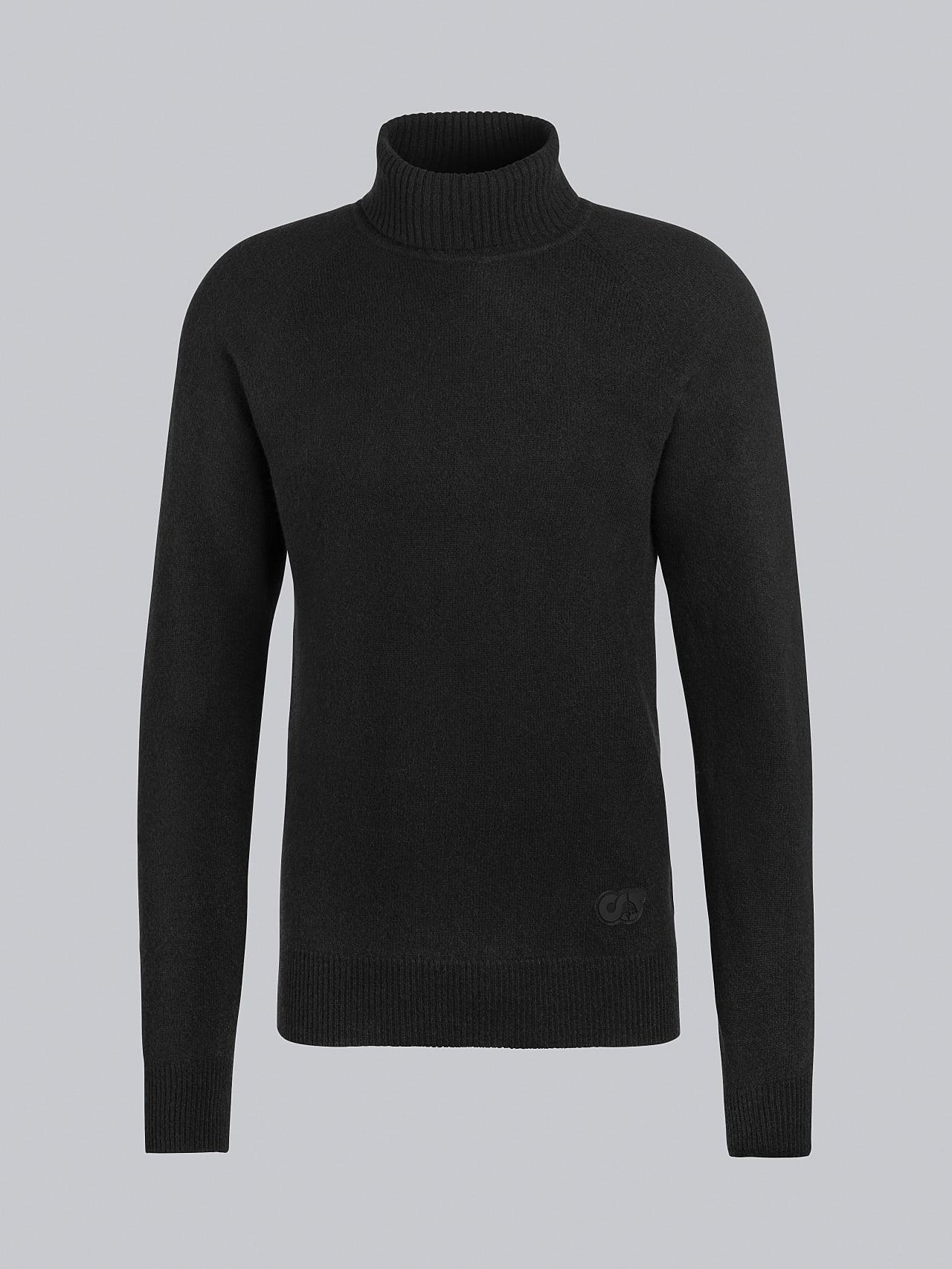 FLUCK V2.Y5.02 Seamless 3D Knit Cashmere-Blend Turtle Neck black Back Alpha Tauri