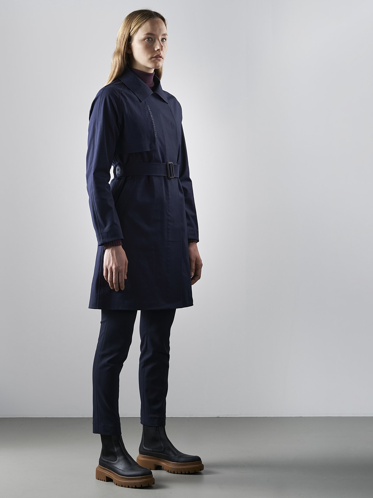OMANI V1.Y5.02 Packable and Waterproof Trench Coat navy Front Alpha Tauri