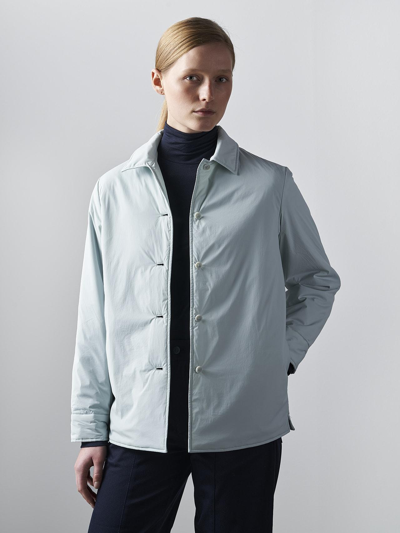 OSHEN V1.Y5.02 PrimaLoft® Overshirt Jacket Pale Blue  Model shot Alpha Tauri