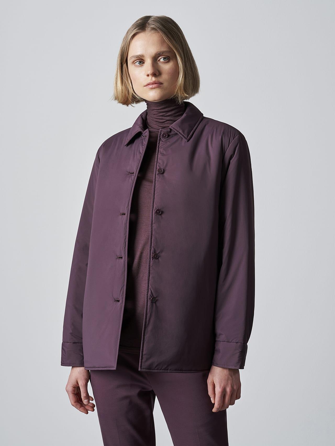 OSHEN V1.Y5.02 PrimaLoft® Overshirt Jacket Burgundy Front Alpha Tauri