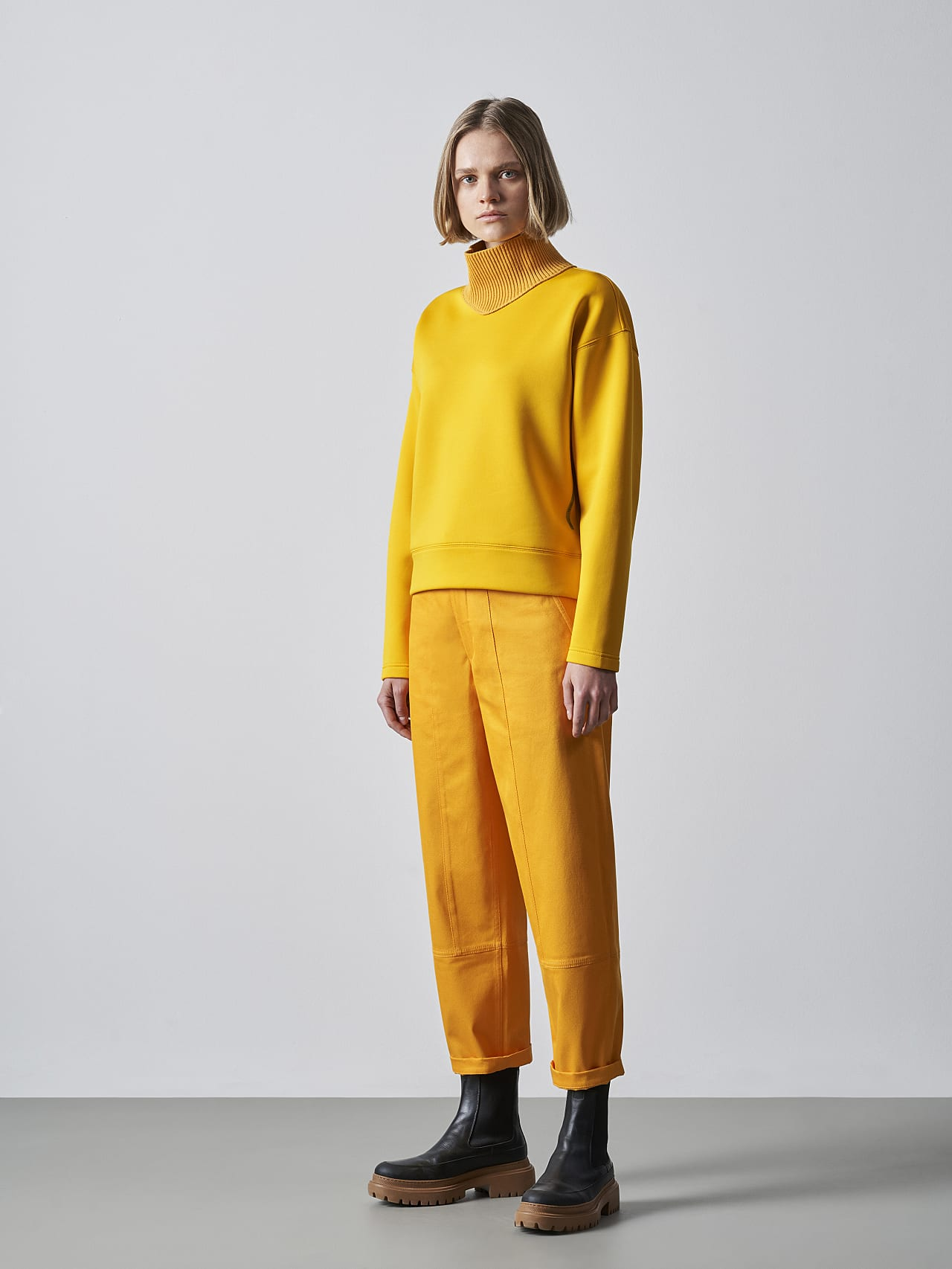 SINAE V1.Y5.02 Technical Turtle-Neck Jumper yellow Front Alpha Tauri