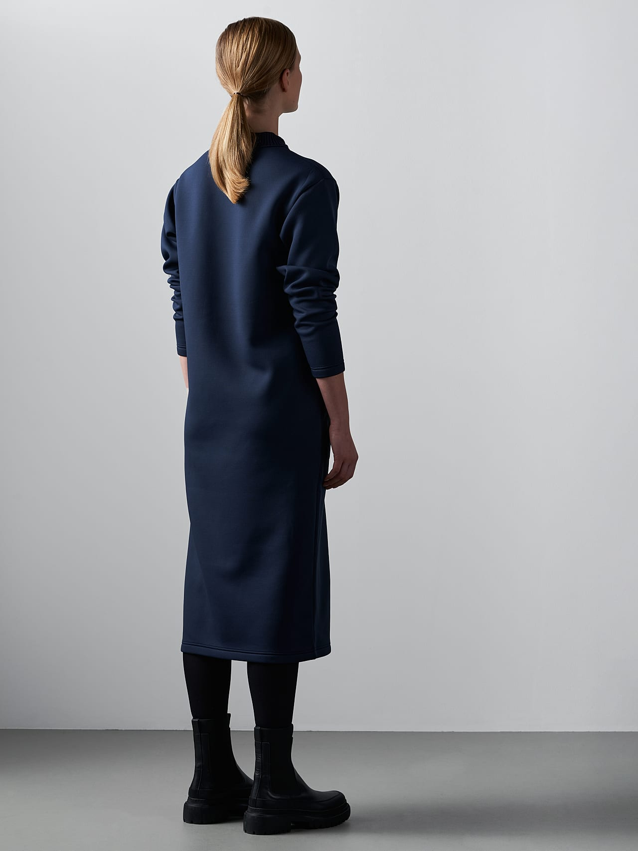 SINLE V1.Y5.02 Technical Spacer Maxi Dress navy Front Main Alpha Tauri