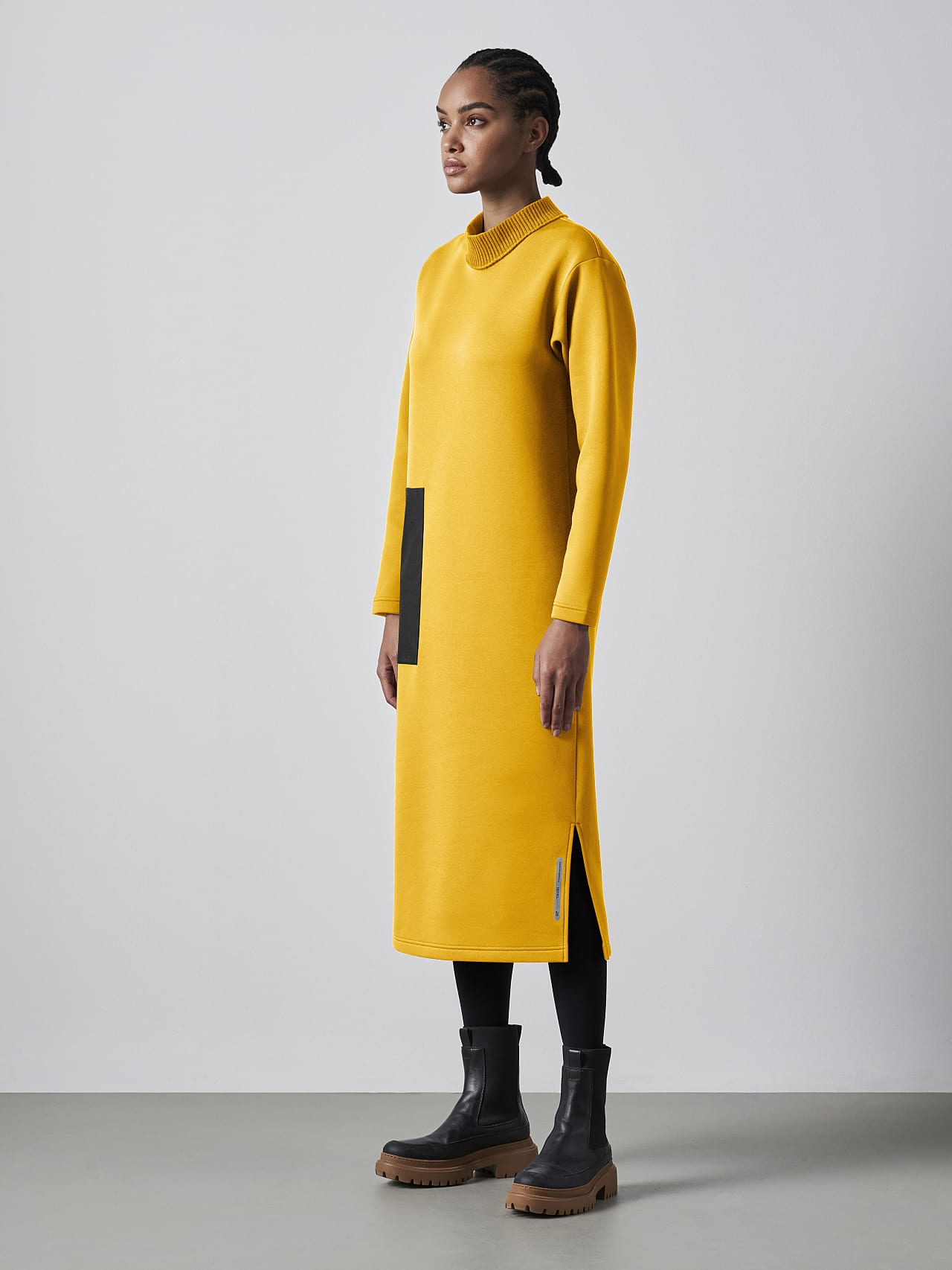 SINLE V1.Y5.02 Technical Spacer Maxi Dress yellow Model shot Alpha Tauri