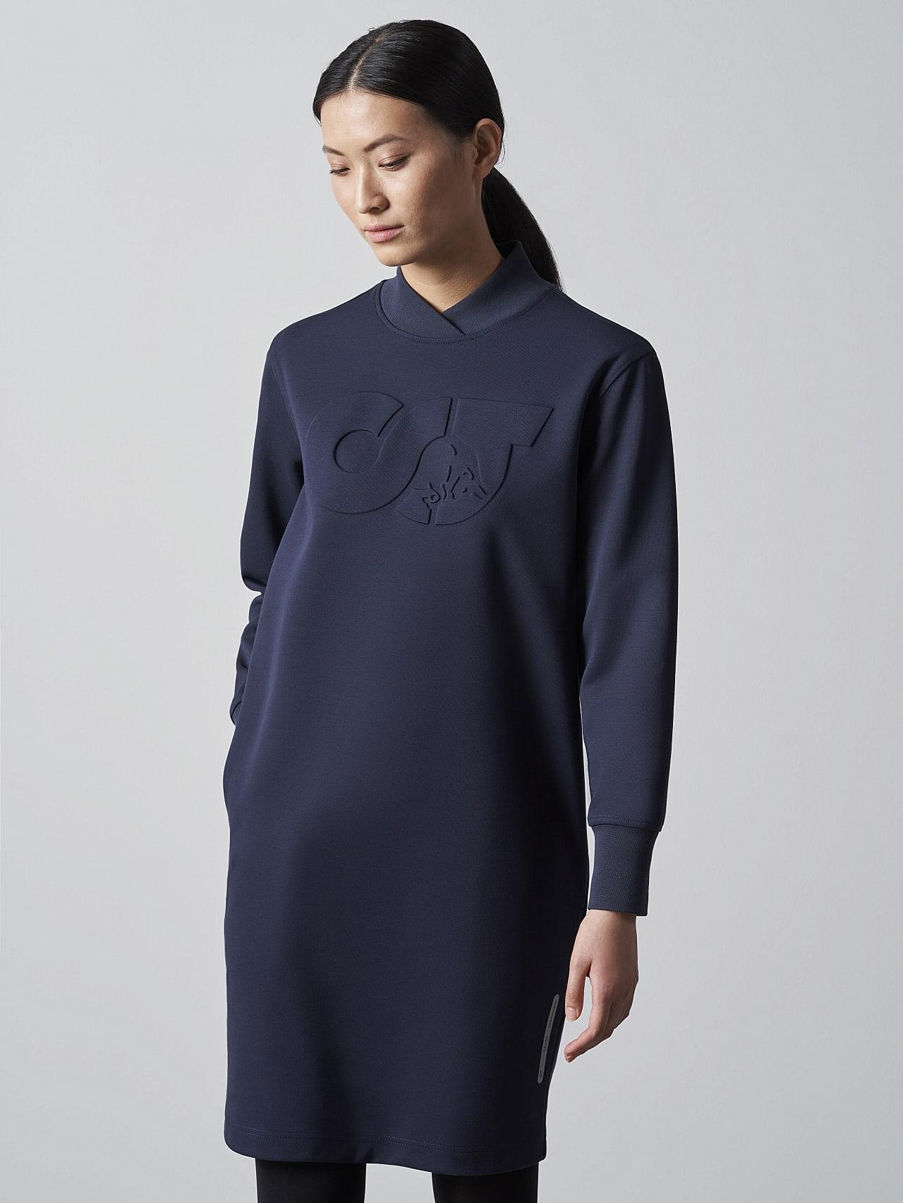 STAR V3.Y5.02 Premium Logo Sweater Dress navy Model shot Alpha Tauri