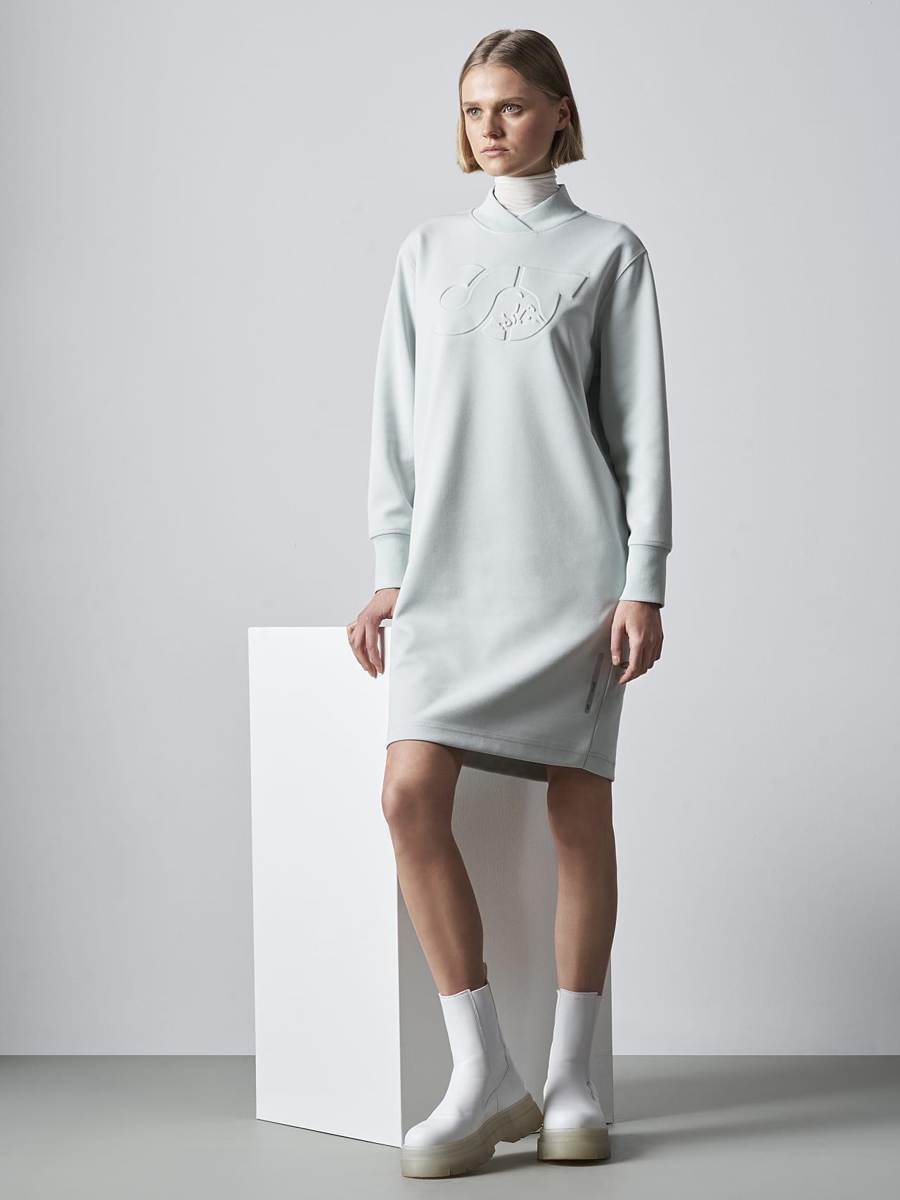 STAR V3.Y5.02 Premium Logo Sweater Dress Pale Blue  Model shot Alpha Tauri