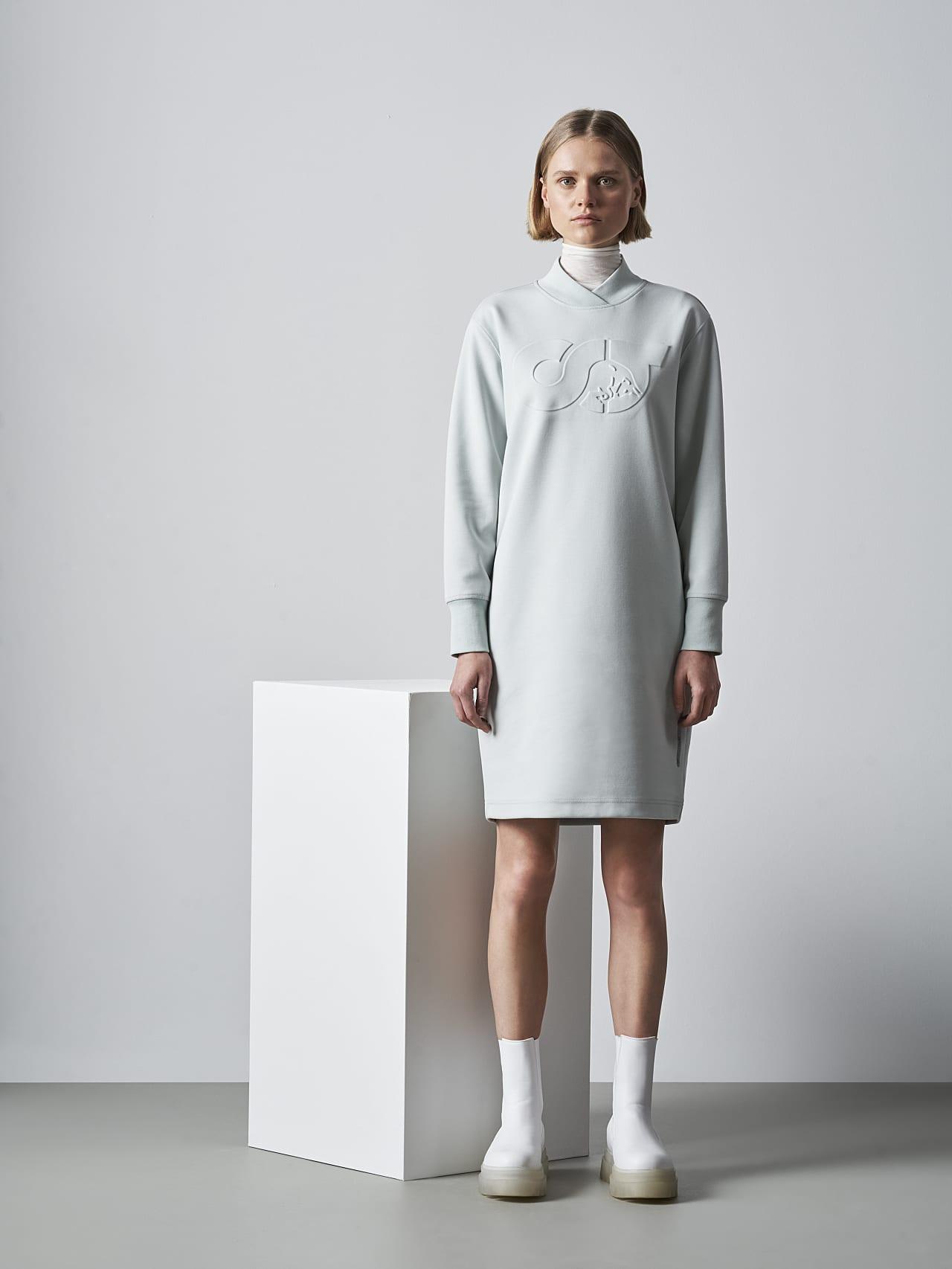 STAR V3.Y5.02 Premium Logo Sweater Dress Pale Blue  Front Alpha Tauri