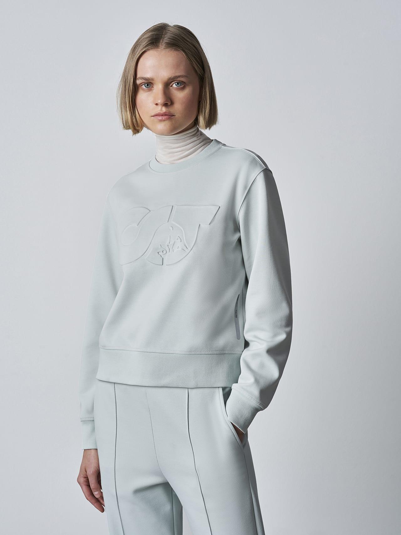 SHINT V1.Y5.02 Premium Logo Sweater Pale Blue  Model shot Alpha Tauri