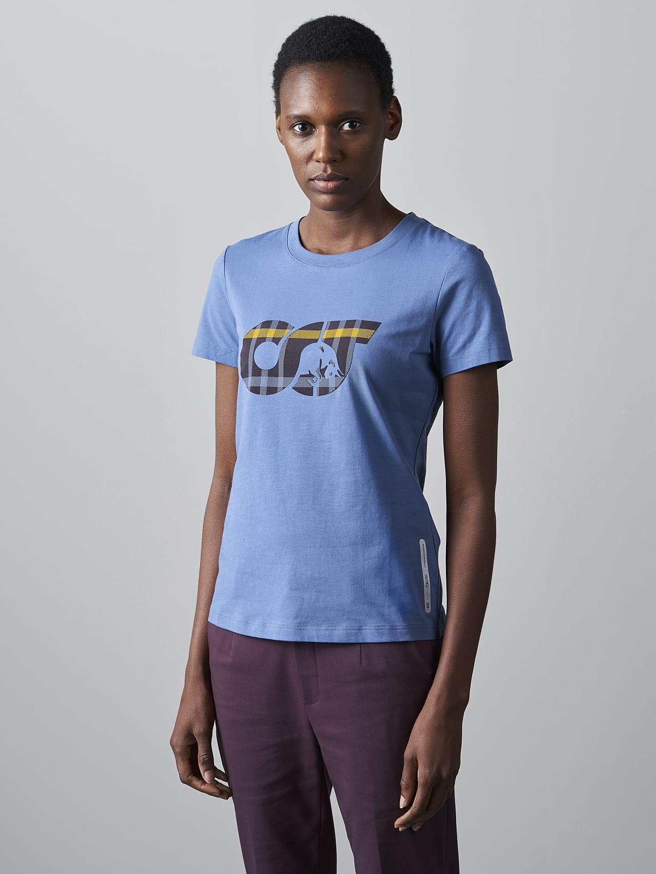 JANPA V1.Y5.02 Logo Print T-Shirt light blue Model shot Alpha Tauri