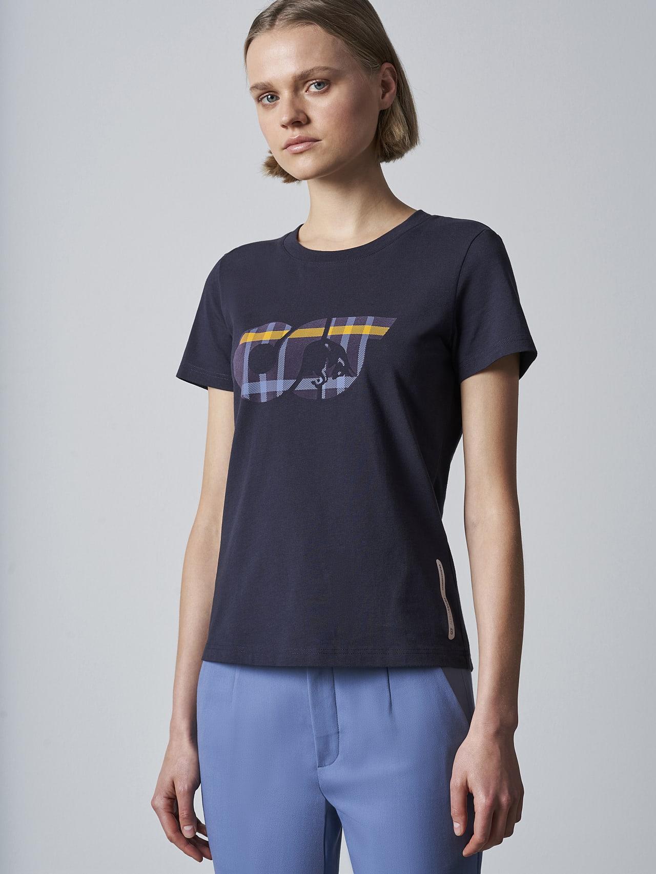 JANPA V1.Y5.02 Logo Print T-Shirt navy Model shot Alpha Tauri