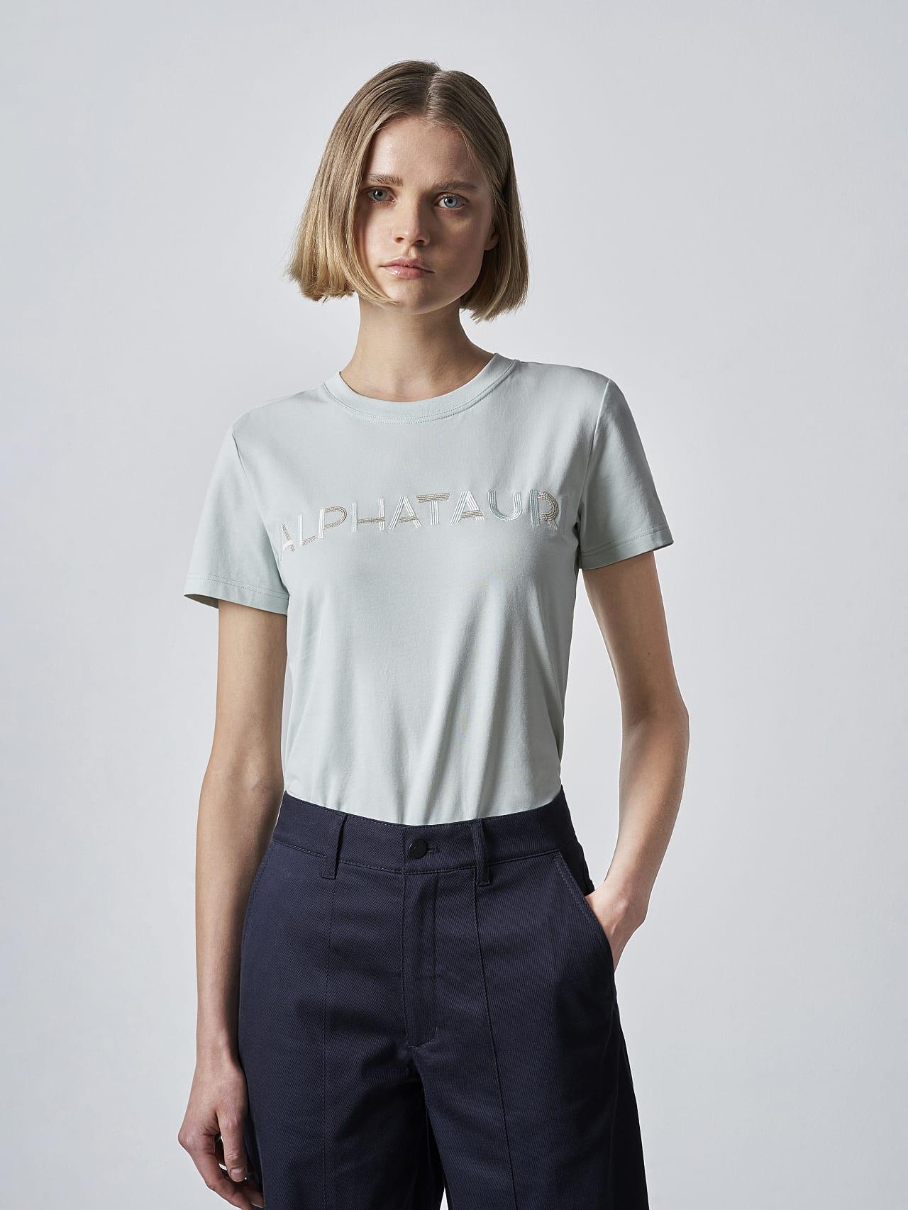 JOCTI V3.Y5.02 Logo T-Shirt Pale Blue  Model shot Alpha Tauri
