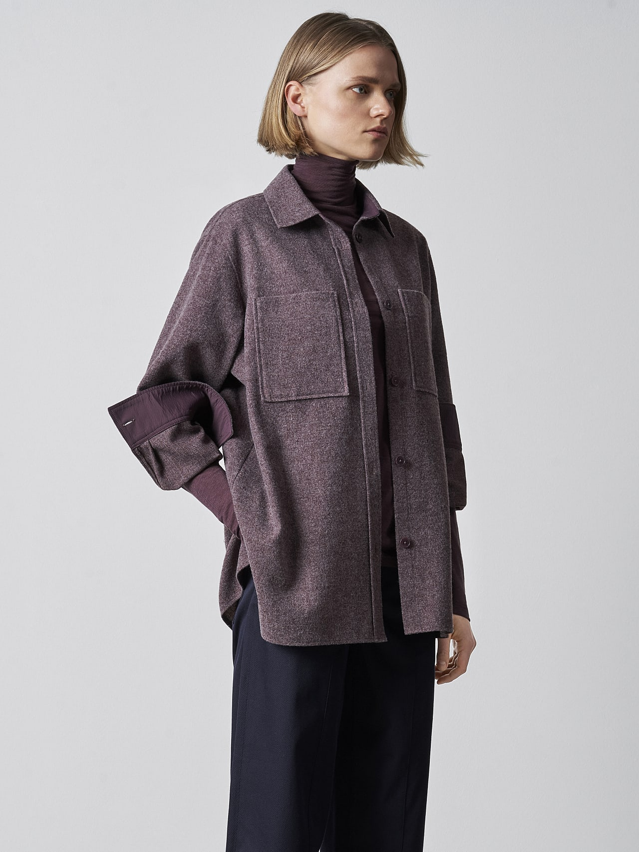 WOVIE V1.Y5.02 Wool Over-Shirt Burgundy Model shot Alpha Tauri